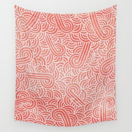 Peach echo and white swirls doodles Wall Tapestry