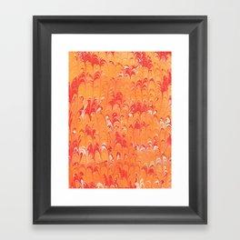 Orange Scalloped Marbling Framed Art Print