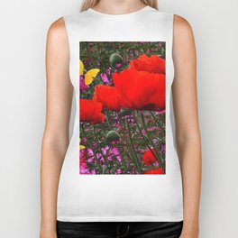 ORANGE ORIENTAL POPPIES & YELLOW BUTTERFLIES Biker Tank