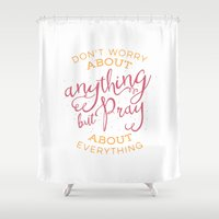 pocketfuel Shower Curtains featuring PRAYER OVER WORRY by Pocket Fuel