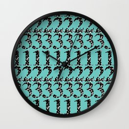 Postmodern Numbers in Marble Composition Notebook + Teal Wall Clock