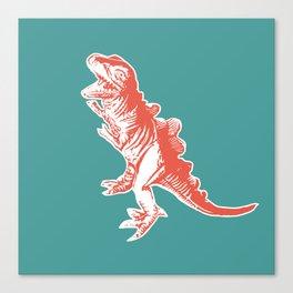 Dino Pop Art - T-Rex - Teal & Dark Orange Canvas Print