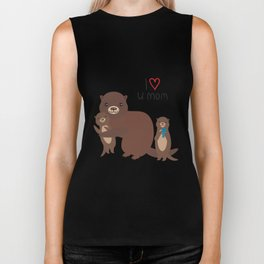 I Love You Mom. Funny brown kids otters with fish on white background. Gift card for Mothers Day. Biker Tank