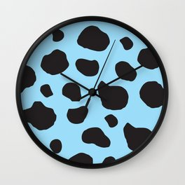 Animal Print (Cow Print), Cow Spots - Blue Black Wall Clock