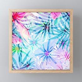 Flashy Colorful Tropical Flowers Design Framed Mini Art Print