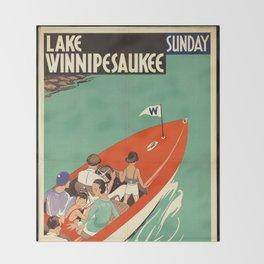 Lake Winnipesaukee - Vintage Poster Throw Blanket