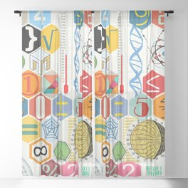 Math in color (white Background) Sheer Curtain