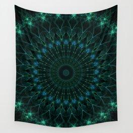 Mandala in dark green and blue tones Wall Tapestry