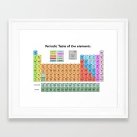 periodic table Framed Art Prints featuring periodic table of elements by Bekim ART