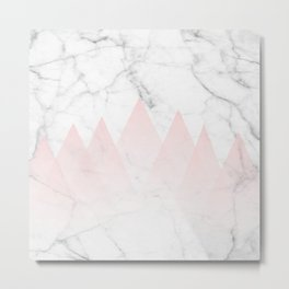 White Marble Background Pink Abstract Triangle Mountains Metal Print