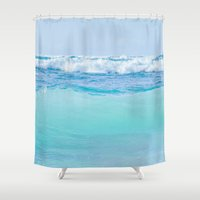blankets Shower Curtains featuring Kapukaulua Pure Blue Surf by Sharon Mau