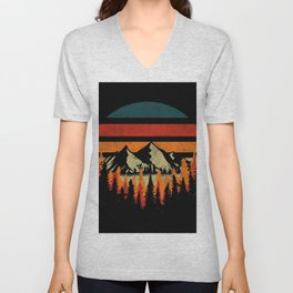 Retro Mountain Unisex V-Neck