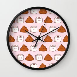 Cute poop and toilet paper Wall Clock