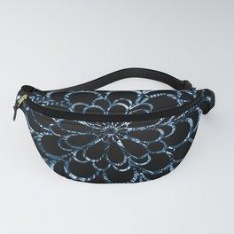 Ice Blue Floral Design Fanny Pack