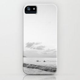 Once your board hits the water - Black and white surf travel photography print | Dominican republic iPhone Case