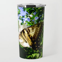 Swallowtail Butterfly Inside Hibiscus Blossom Travel Mug