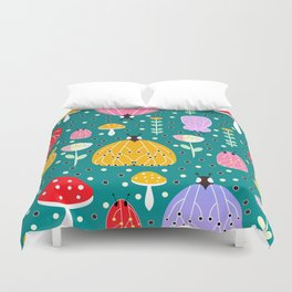 Bugs and mushrooms Duvet Cover