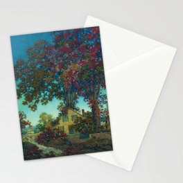House Under Red Oaks landscape painting, circa 1925 by Maxfield Parrish Stationery Cards