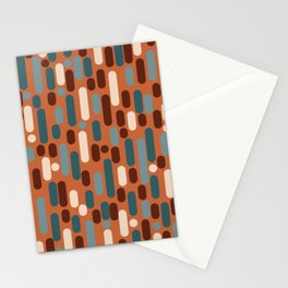 Morningside Heights Mid Century Modern Pattern in Steel Blue, Cream, Maroon, Orange Stationery Cards