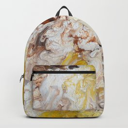 Brown, White and Yellow Abstract Art Backpack