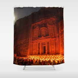 Candlelit Petra Ruins by Moonlight by Sylvain L. Shower Curtain