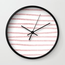 Simply Drawn Stripes in Rose Gold Sunset Wall Clock