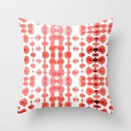 Coral Shibori Habatoi Ikat Throw Pillow