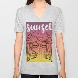 Sunset Girl Unisex V-Neck