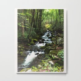 Smoky Mountains Waterfall Stream Watecolor Print Art Metal Print