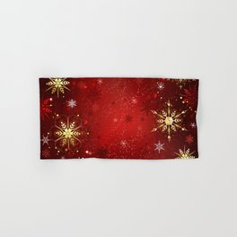 Red Background with Gold Snowflakes Hand & Bath Towel