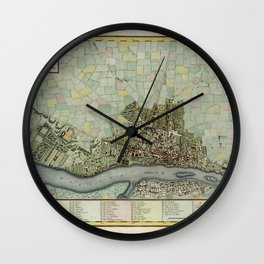Map Of Warsaw 1790 Wall Clock