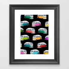 Microbus Pattern black Framed Art Print