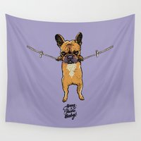 puppies Wall Tapestries featuring Hang in There Baby Frenchie by Huebucket