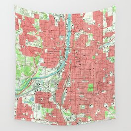 Vintage Map of Grand Rapids Michigan (1967) Wall Tapestry