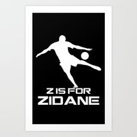 zidane Art Prints featuring Zidane Black by Sport_Designs