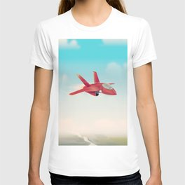 Red Jet fighter plane T-shirt