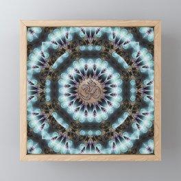 Om Shanti Fractal Geometry [ earthy aqua remix ] Framed Mini Art Print