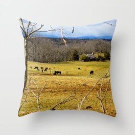 Cattle ranch overlooking the Blue Ridge Mountains Throw Pillow