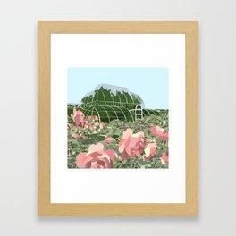 Botanical Glass House in the Rose Garden Framed Art Print
