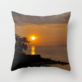 Night falls over Lake Constance Throw Pillow