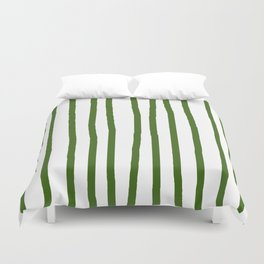 Simply Drawn Vertical Stripes in Jungle Green Duvet Cover