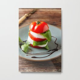 Fresh italian Caprese salad tomato and mozzarella slices with basil leaves balsamic vinegar  Metal Print
