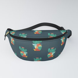 Blooming cactus in cracked pot Fanny Pack
