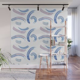 blue pattern watercolor two Wall Mural