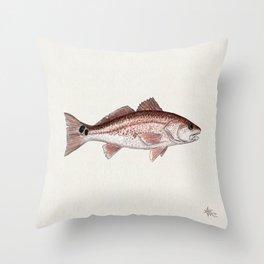 """Redfish"" by Amber Marine - (Red Drum) Sciaenops ocellatus ~Watercolor Illustration,(Copyright 2013) Throw Pillow"