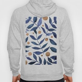 Watercolor berries and branches - indigo and beige Hoody