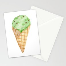 Watercolour Illustrated Ice Cream - Mint Choc Chip Stationery Cards