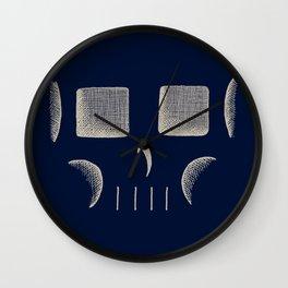 Skull Linework (Tan / Dark Blue) Wall Clock