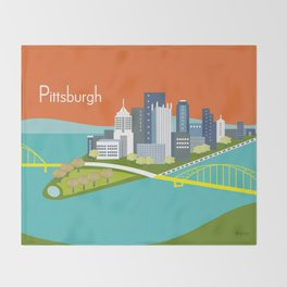 Pittsburgh, Pennsylvania - Skyline Illustration by Loose Petals Throw Blanket