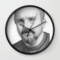 louis Wall Clocks featuring Louis CK by Olechka